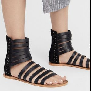 Free People Leather Suede Strappy StuddedSandal 40